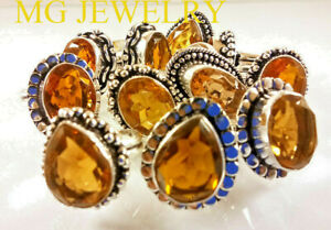 500 PCs Lot Natural Citrine Gemstone .925 Sterling Silver Overlay Rings