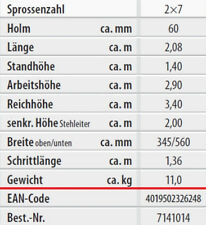 Hymer Holz-sprossenstehleiter beidseitig begehbar 2x7 7141014