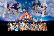 Decor Art Canvas Print Oil Painting Castle Disney Cartoon Characters  ,16