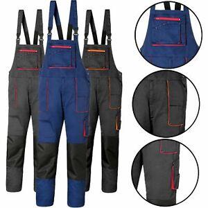 Mens Work Trousers Bib and Brace Overalls Knee Pad Pocket Dungaree Multi Pocket