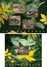 Snakes Schlangen Reptiles Animals Fauna Central Africa MNH stamp set