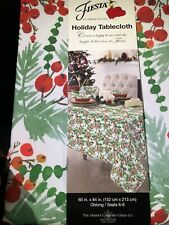 """New listing Fiesta Holiday Oblong Tablecloth 60"""" x84� Red Berries Pine Needles Christmas New"""