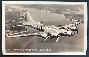 Mint Usa Real Picture Postcard New Flying Fortress B-17-E By BAC