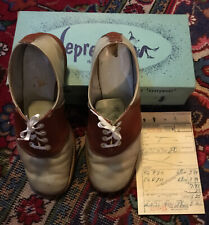 vintage Size 6 1/2 womens saddle shoes With Original Leprecons Box Sales Receipt