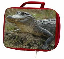 More details for crocodile print insulated red school lunch box/picnic bag, ar-c1lbr