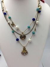 $48 Betsey Johnson Shipshape Anchor and Bead Illusion Multu-Color Necklace BK 10