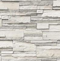 Wallpaper Designer Black Gray Eggshell White Faux Stacked Stone