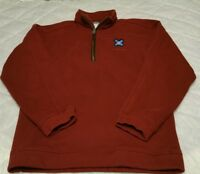 Columbia 1/4 Zip Fleece Pullover Jacket Men's S Small Red Pocket In Sleeve