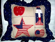 4th of July Patriotic Pillow Stars Stripes Appliqued Patriotic Decoration Insert