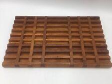 DANSK Teak Wood Trivet Rectangle Lattice Mid Century Modern Scandinavian