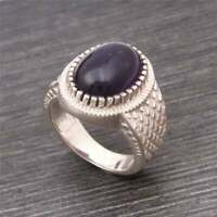 Solid 925 Sterling Silver Handmade Natural Amethyst Gemstone Ring Jewelry S14