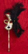Masque de Venise à Baton Plumes autruche Noir-doré-Carnaval venitien-1427 X24