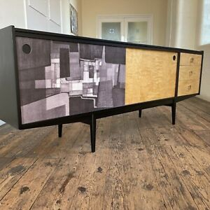 mid century sideboard Abstract Birch Ply Plywood 1950s 60s Vintage Credenza