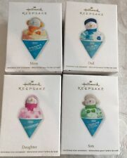 LOT 4?Hallmark 2012 Keepsake Christmas Snow cone Ornaments Mom,Dad,Som, Daughter
