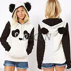 Fashion Womens Winter Panda Pocket Hoodie Sweatshirt Hooded Pullover Tops Jumper