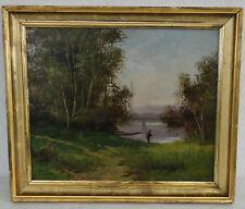 Paul-Emile FAIVRE (1821-1868) Le Pêcheur à la Ligne  Ecole de Barbizon XIXème