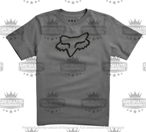 FOX RACING YOUTH BOYS GIRLS GRAY LEGACY MOTORCYCLE MX SS TEE ALL SIZES