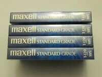 4 Maxell VHS T-120 6 Hour Standard Grade VCR Blank Video Cassette Tapes Sealed