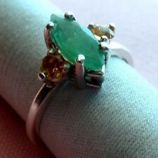 Genuine Emerald 11x5mm With 3mm Round Padparadschah Silver 925 Ring skaisF17