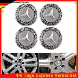 4 Stück Für Mercedes-Benz Nabendeckel Nabenkappen Felgendeckel 75mm Schwarz