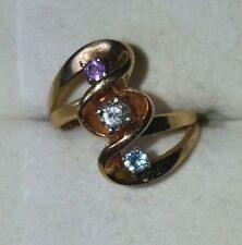 3-STONE Mothers Ring in 14K YELLOW GOLD, Diamond(Dec), Amethyst(Feb), Topaz(Mar)