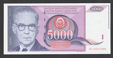 YUGOSLAVIA  5000 Dinara 1991 UNC  P111  Ivo Andric Nobel prize writer - bridge
