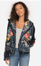 Johnny Was Nessava Hooded Jacket Black Embroidery Sweater Flower New Small Hobo