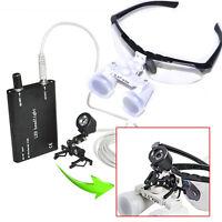 Dental Loupes 3.5X420mm Optical Glass + clip Head light Lamp Surgical Binocular