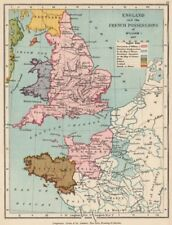 NORMANS. William the Conqueror's lands in France & England 1087 1907 old map