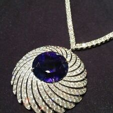 6Ct Round Cut Blue Sapphire Synt. Diamond Pendant White Gold Fns Silver Necklace