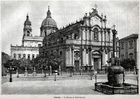 Catania: Duomo di Sant'Agata. Grande Veduta. Stampa Antica + Passepartout. 1892