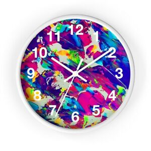 Wall clock Colorful Neon Abstract Design Trippy