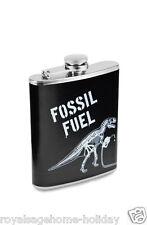 FLASK578 Fossil Fuel Hip Flask Liquor Whiskey Dinosuar Skeleton T-Rex Halloween