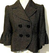 Edina Ronay Ladies Jacket UK 10 Black Wool Short Double Breasted Peplum Style