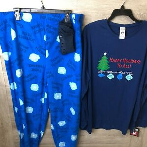Mad Dog Concepts Mens Size XL Blue Happy Holiday Pajama Set Plus Slipper Socks