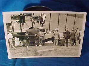 Early 20thc GLENN CURTISS w AMERICA BI-PLANE Hammondsport REAL PHOTO POSTCARD