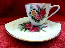 FINE  CHINA  ROSE  PATTERN  CUP AND  COMBINED COOKIE  TRAY  AND SAUCER