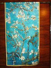 Crepe de chine long silk scarf Print of Van Gogh Almond blossom Blue/green   NEW