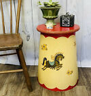 Vintage Atomic MCM Bentwood Side Accent Table Circus Star Show Horses Decals