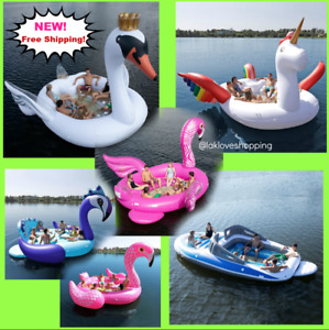 Sun Pleasure Big Inflatable 6 Person Party Unicorn Island Water Float Lounge*NEW