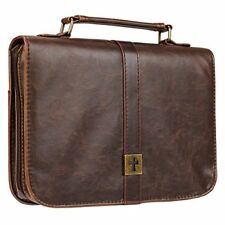 Distressed Large Leather Look Bible Book Cover Protective Case with Cross Badge