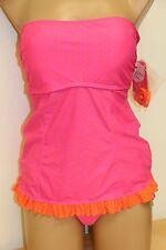 NWT Hula Honey Swimsuit Bikini Tankini 2pc set Sz S Strap Pink Reversible ORG