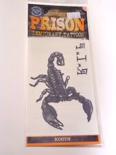 Prison Black Scorpion RIP Temporary Tattoo Costume Accessory Halloween Decoratio