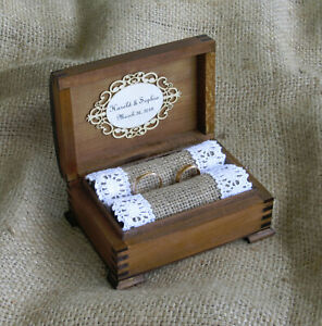 Wedding Ring Bearer Box Engagement Ring Holder Wooden Personalized Jewelry Box
