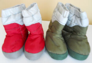 Old Navy Kids Slipper Booties Size 6 8 Red Green Baby Toddlers Boys Girls