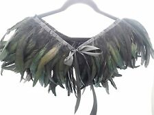 Hand Made Feather Cape Shawls Scarf Wrap Shrugs Collar Black Green FW001