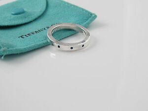 Tiffany 1837 Silver 3 Blue Sapphire Circle Round Stacking Ring Band Size 7.5