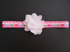 baby hair headbands accessories elastic girl cupcake white flower