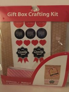 Gift Box Crafting Kit - Makes 6 Boxes - Party Favors Red White
