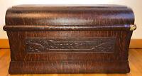 Antique Art Nouveau Tiger Oak Wood Sewing Machine Treadle Cover Lid Coffin